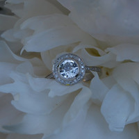 White sapphire bezel diamond engagement ring by EidelPrecious