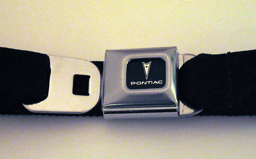 LICENSED PONTIAC AUTOMOBILE SEATBELT STYLE BELT BUCKLE