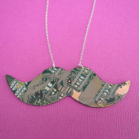 recycled circuit board mustache necklace movember