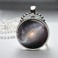 Round Resin Glass Pendant Bezel Pendant Celestial Pendant Space Necklace Photo Pendant Art Pendant With Silver Ball Chain (A3873)
