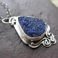 Oxidized sterling silver and azurite drusy pendant . (( Starry, Starry Night )) . oxidized cable chain included . READY TO SHIP