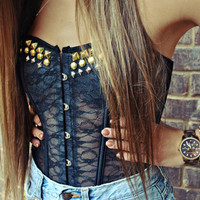 STUDDED Black Lace Bustier Corset Top