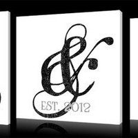 Personalized Monogram Canvas Wall Art, 3 Piece Set Includes Initials and Established Date