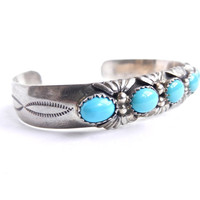 Sterling Silver Turquoise Bracelet - Vintage Signed M. Thomas Native American Jewelry / Teal Tribal Cuff
