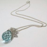 Handmade Sterling Silver Wire Wrapped Aquamarine Quartz Glass Faceted Briolette and Silver Textured Maple Leaf Pendant Charm Necklace