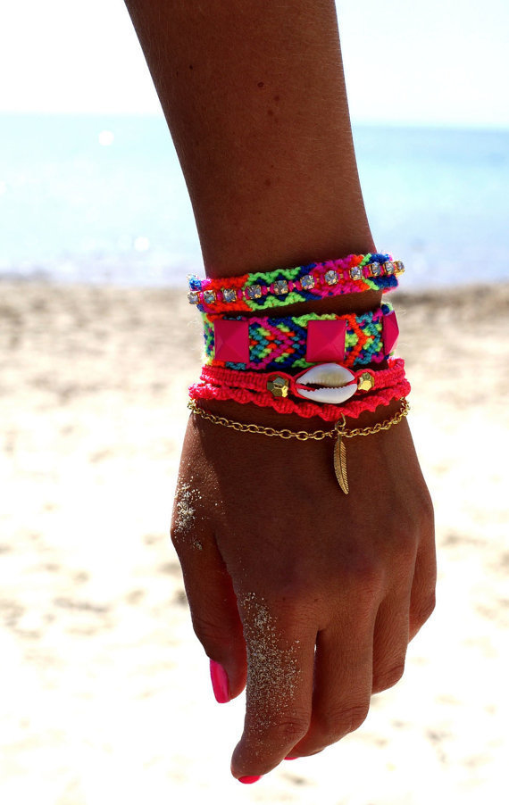 Rhinestone Friendship Bracelet in Hot Neons.