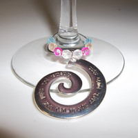 2 Large Inspirational Wine Glass Charms, Coffee Cup Charms