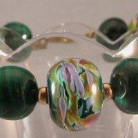 Artisan Lampwork, Malachite and Gold Filled Handmade Bracelet - purple, green, gold
