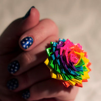 Neon Rainbow Duct Tape Rose Ring OR Hair Clip