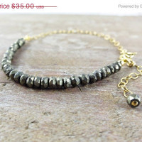 Christmas In July Sale GOLD PYRITE BRACELET, Stunning Faceted Sparkly Pyrite on Gold Filled Bracelet