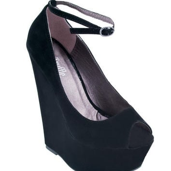 Black Soft Suede Peep Toe Wedges - Footwear - desireclothing.co.uk
