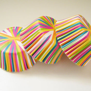 Neon Stripes Cupcake Liners - Baking Cups  (50 qty)