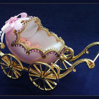 Baby birth souvenir - Baby birth gift - Pink pram made of duck eggshell.