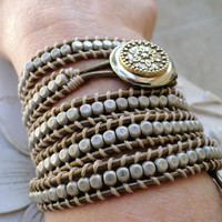 Metallic Beaded Leather Wrap Bracelet 5Xwrap Neutral bohemian Chan Luu style