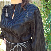 Vintage 70s Disco Dress - Black with Silver sparkles - Belt Included - One Size