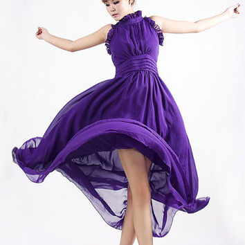Bridesmaid dress Purple Chiffon  (MM26)