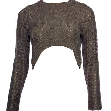 Mocha Cable Knit Cropped Jumper - Knitwear - desireclothing.co.uk