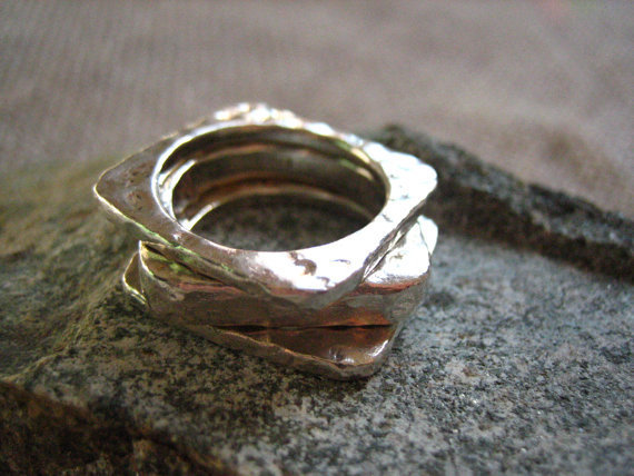 Vintage Sterling Silver Square Round Stackable Trio Hand Hammered Rings US 7 .....1213