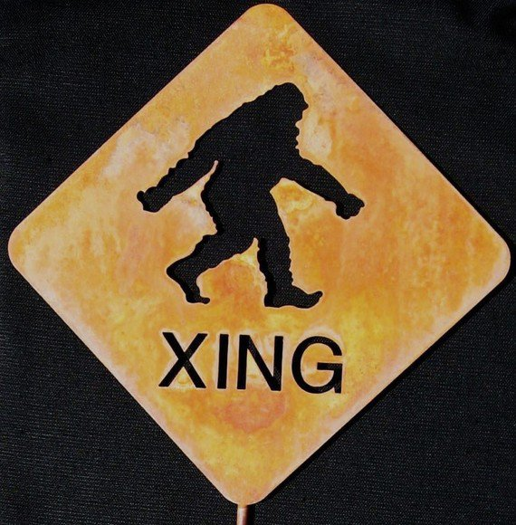 Bigfoot Sasquatch or Yeti Crossing Metal from zedszombieranch on