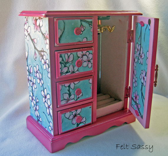 Refurbished Jewelry Box Large - Cherry Blossoms - by FeltSassy