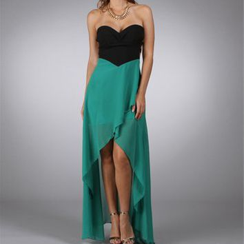 Green Strapless Hi-Low Dresses