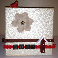 Birdhouse/Cardinal Home Plaque - 5x5&quot; - Wall or Tabletop Decor - READY TO SHIP