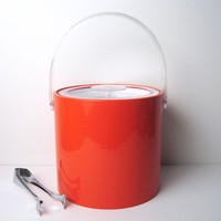 Georges Briard 70's Ice Bucket - Orange / Lucite Acrylic / w Chrome Tongs
