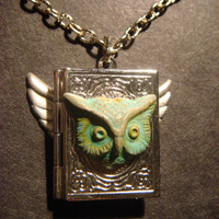 Victorian Style Flying Book Owl Head Steampunk Locket Necklace-
