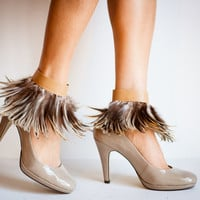 Camel & Brown Feather Ankle Cuffs
