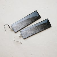 FREE SHIPPING CIJ - Ombre Black And Silver Clay Earrings - christmasinjuly