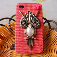 iPhone 4 4S hard Case Cover With Cute tan owl For Apple iPhone 4 case,iPhone 4S case,iPhone 4GS case SJK-1347