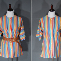 Vintage 1970&#x27;s Blouse / Rainbow Stripes / Side Slits / Boxy Slouchy