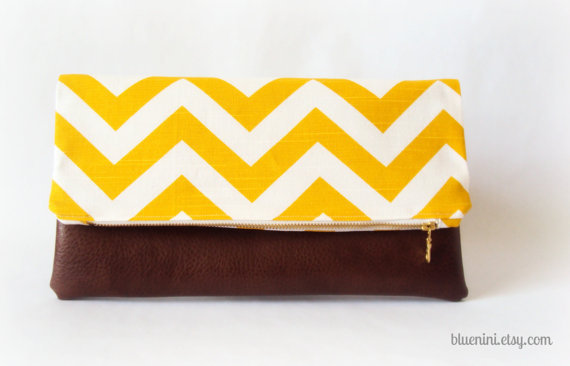 Hybrid Clutch - Fold Over Zippered Clutch - Dandelion Yellow Chevron with Brown Vegan Leather - Summer Fashion
