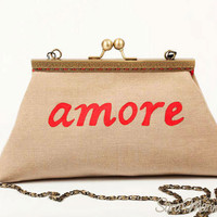 Red word hand painted design// Clutch purse bag// Amore// Antique brass metal purse frame// Grosgrain ribbons