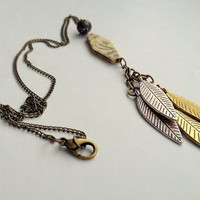 Vintage Etched Bead Necklace with Metal Feather Charms