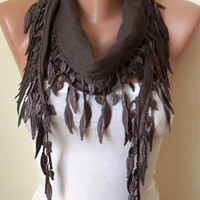 Pale Brown  - Lightweight Summer Scarf with Trim Edge ...
