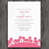 Pink and Grey Flowers Customizable Printable Wedding Invite