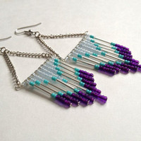 Purple Silver and Light Blue Beaded Earrings