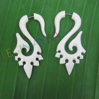 Organic Ornate Natural Ear taper fake cheater carved bone earrings c0093b
