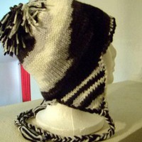 Black and White Earflap Hat by FourSeasons on Zibbet
