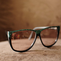 1980s Geeky Chic Oversized Vintage Black Frames with Green Detail Eyeglasses
