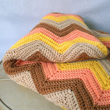 Cozy KNIT AFGHAN CHEVRON Pattern 1970s Vintage Knitted Crochet Large Throw Blanket in Coral Yellow Cream and Brown Retro 70s Zigzag