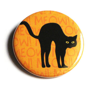 Halloween Buttons Cat Black Meow Orange Pinback Holiday