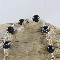 Black Lampwork Glass wire wrapped Bracelet made with Sterling Silver swan clasp - lampwork glass bead
