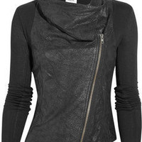 Discount Helmut Lang Cracked-leather and jersey jacket|THE OUTNET