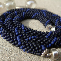 Bead Crochet Necklace Big Blue in Midnight Navy and Cobalt Blue Womens or Mens Seed Bead Crochet Rope Necklace