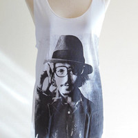 Johnny Depp Shirt Tim Burton Movie Star Hollywood Actor Film Movie -- Johnny Depp T-Shirt Women Tank Top Vest Tunic Sleeveless Size S , M