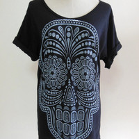 Skull Shirt Day Of The Dead Art Skull -- Skull Design Art Tee Shirt Women T-Shirt Men T-Shirt Skull T-Shirt Black T-Shirt Size M , L