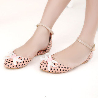 YESSTYLE: 59 Seconds- Bow-Accent Polka-Dot Sandals (Pink and Black - Size 38) - Free International Shipping on orders over $150