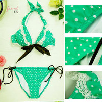 YESSTYLE: NAMI- Ruffle Dotted Print Bikini Set (Green - 1 Size) - Free International Shipping on orders over $150